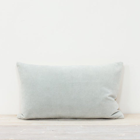 Velvet Rectangle Cushion in Mineral Blue