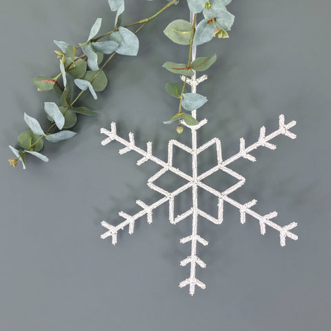 Beaded Snowflake with Star 30cm