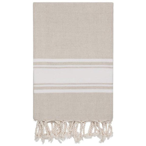 Linen Hamam Towel White Stripe