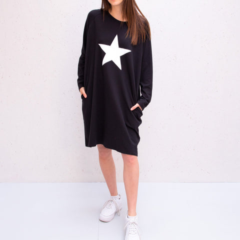 Jersey Dress in Black With White Star