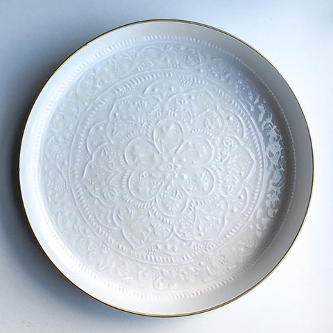 Large Ivory Embossed Round Tray