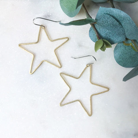 Brass Wire Star Earrings