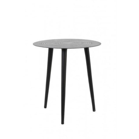 Matt Embossed Tin Top Round Side Table 40cm