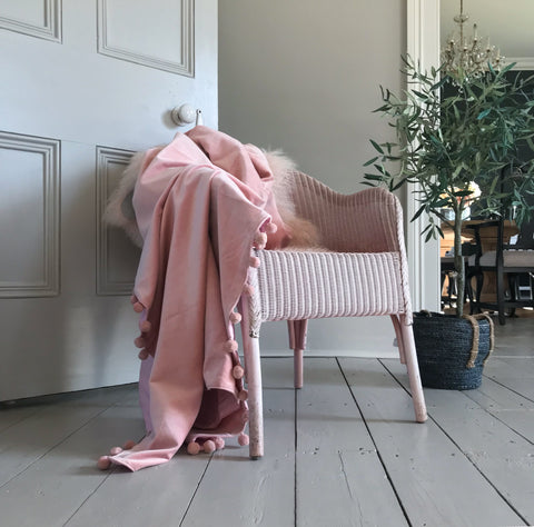 Blush Pink Velvet Throw With Pompom Trim