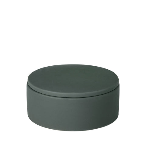 Large Porcelain Storage Pot in Green-Grey