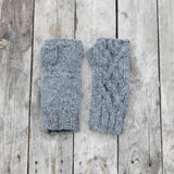 Handknitted Cable Wristwarmers in Grey