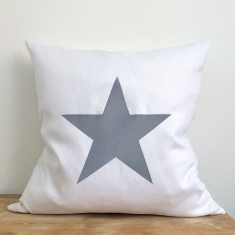 White Linen & Light Grey Star Cushion - 50cm