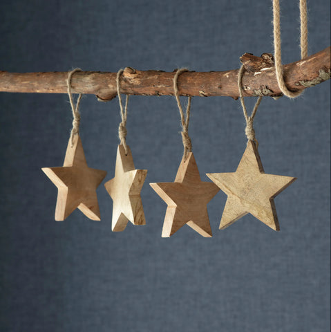Set of 4 Wooden Hanging Stars