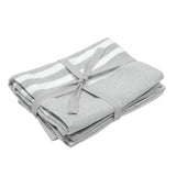 Pair of Cotton Teatowels Light Grey Stripe
