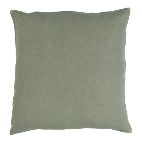 Linen Square Cushion in Chalk Green