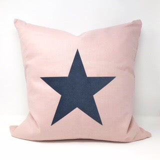 Pink Linen Star Cushion - 40cm