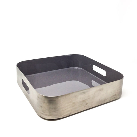 Square Metal Tray with Grey Lacquer