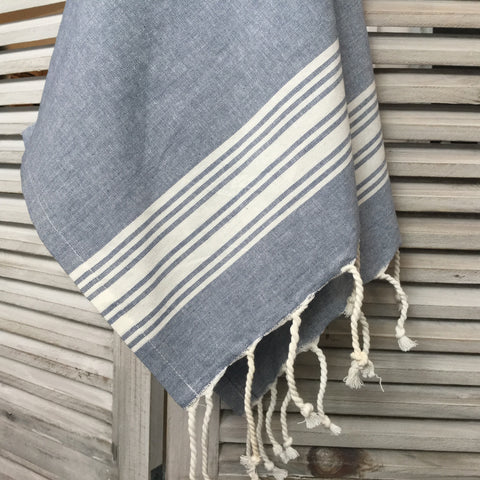 Blue and White Cotton Hand Towel