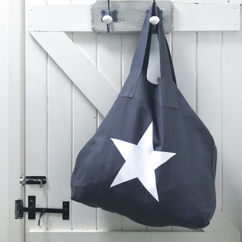 Charcoal Linen & White Star Shopper