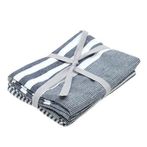 Pair of Cotton Teatowels Blue Stripe