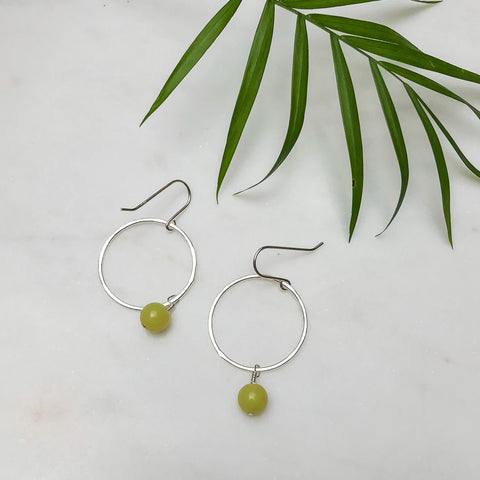 Silver Hoop Earrings with Yellow Jade Bead