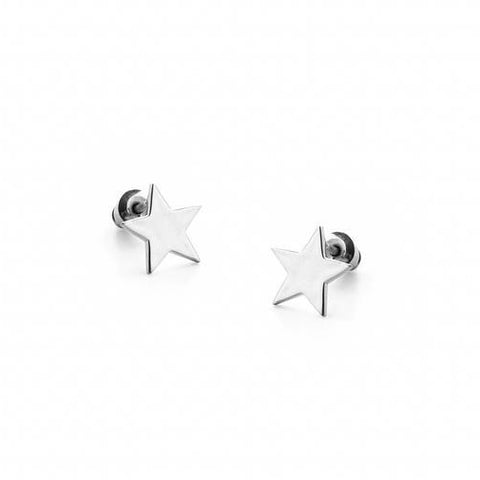 Alpha Silver Star Stud Earrings