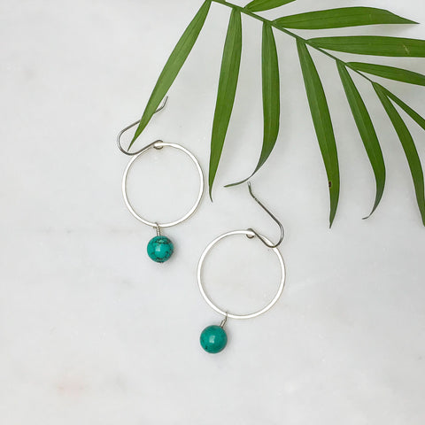 Silver Hoop Earrings with Turquoise Bead