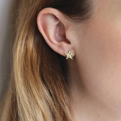 Alpha Gold Star Stud Earrings