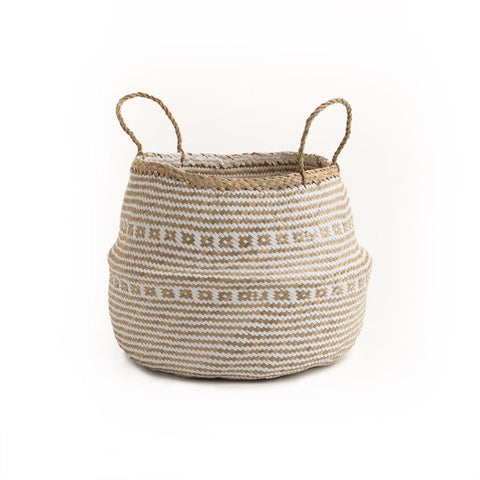 Natural and White Belly Basket