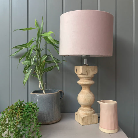 Natural Wood Lamp with Blush Shade