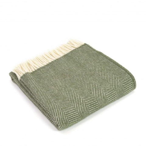 Pure New Wool Throw in Olive Green Herringbone