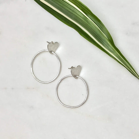 Heart Stud Hoop Earrings