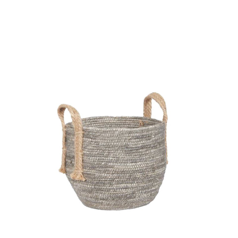 Small Light Grey Rustic Basket