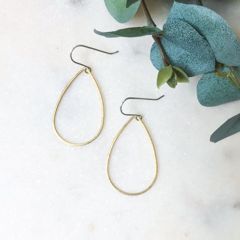 Brass Wire Teardrop Earrings