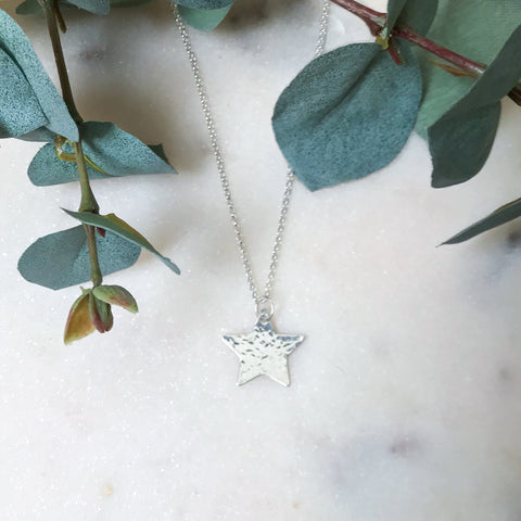 Silver Hammered Star Pendant on Chain