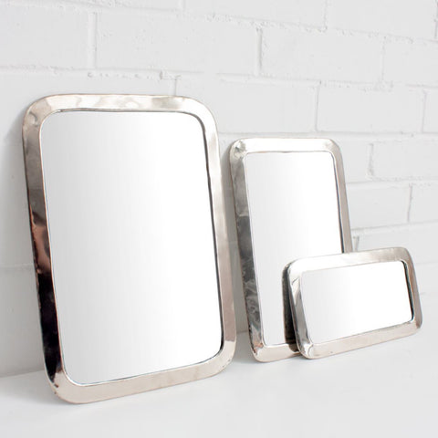 White Brass Effect Rectangular Mirror Large