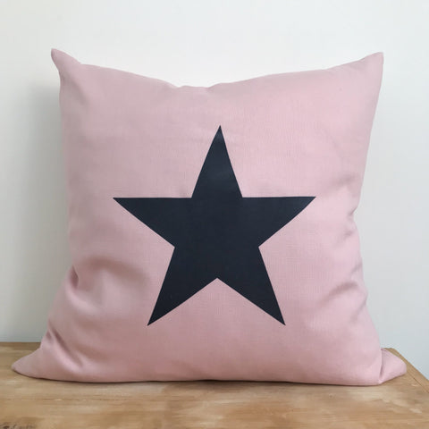 Pink Linen & Dark Grey Star Cushion - 50cm