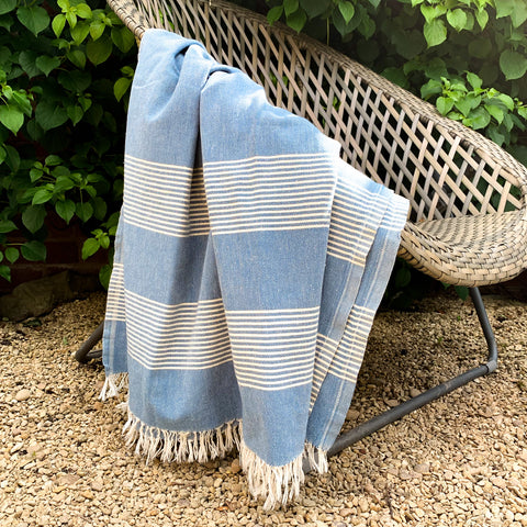 Cotton Hamam Towel in Ocean