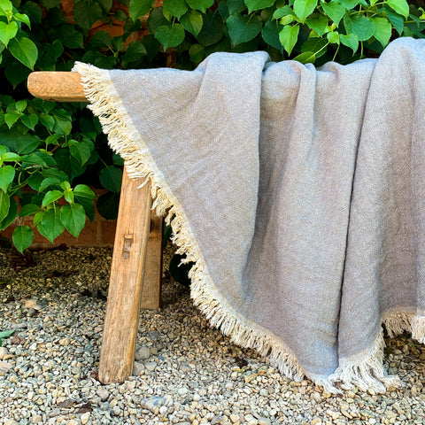 Cotton Throw in Grey and Natural