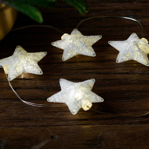 Bolette Mini Cotton Star LED Lights in Silver