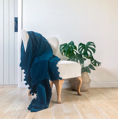 Petrol Blue Velvet Throw With Pompom Trim