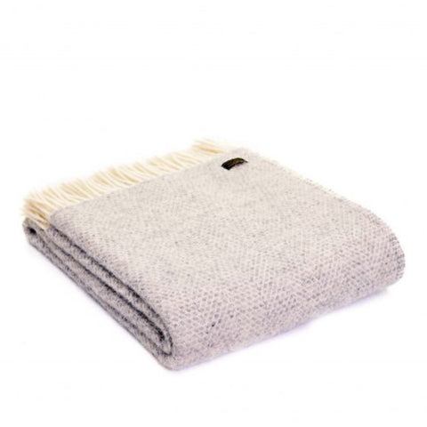 Pure New Wool Throw in Soft Grey Beehive