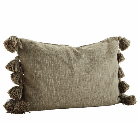 Olive Textured Tassel Cushion 40x60