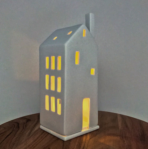 Porcelain Light Up House with Big Door