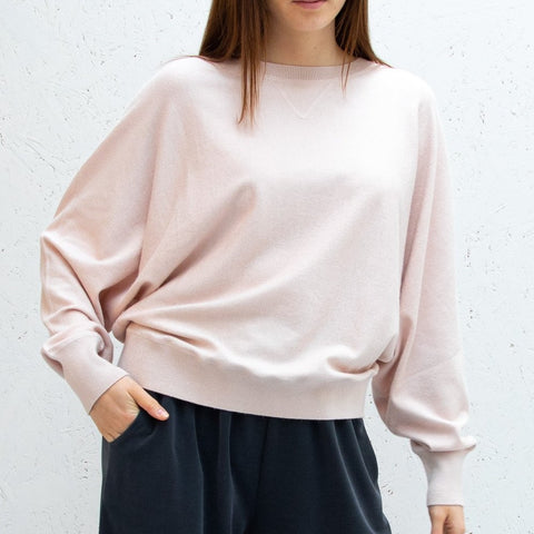 Soft Knit Batwing Jumper - Blush Pink
