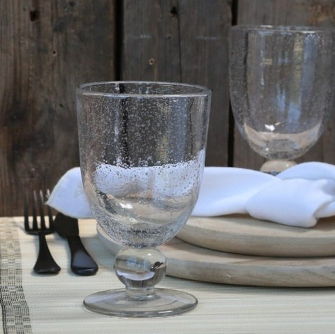 Bubble Stem Glass Goblet