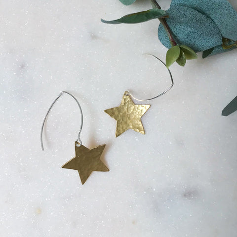 Brass Star Drop Earring