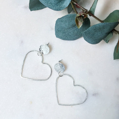 Disc Stud Heart Earrings