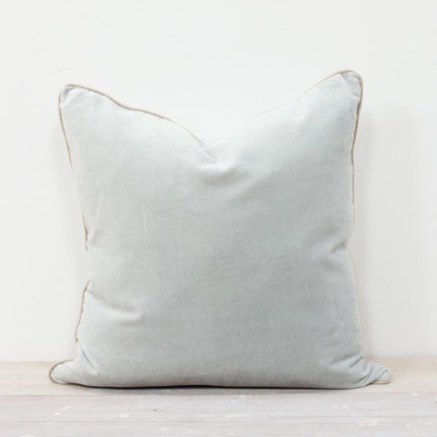 Velvet Square Cushion in Mineral Blue