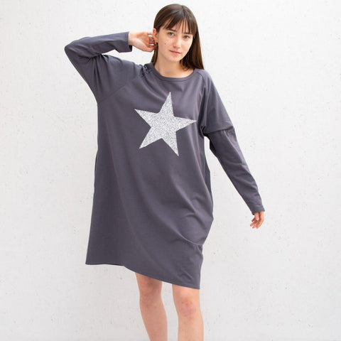 Jersey Dress in Charcoal With Silver Star