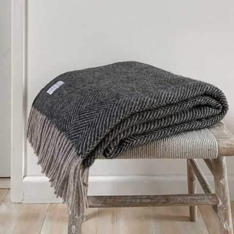 Pure New Wool Throw in Charcoal and Silver Herringbone