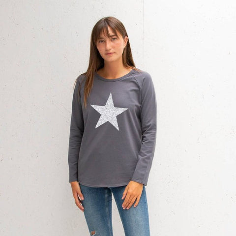 Long Sleeve Charcoal T-Shirt With Sparkle Star