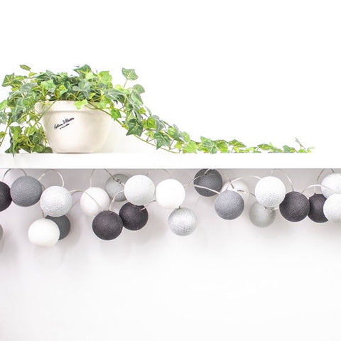 LED Cotton Ball Lights - Metallic Monochrome