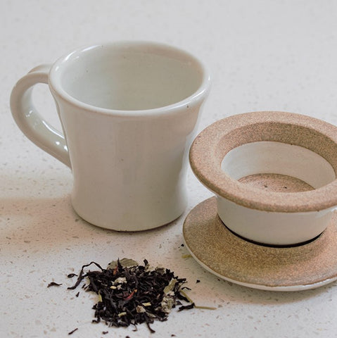Handmade Ceramic Cup and Strainer Set