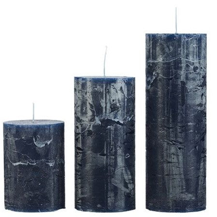 Slim Rustic Pillar Candles in Petrol Blue